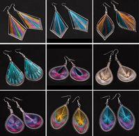 Bohemian atto nazionale orecchino a mano a maglia seta colorata orecchini del filetto di modo esagerato foglia geometrica orecchini di goccia fatti a mano