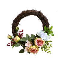 Décoration de la maison simulé guirlande artificielle simulation à la main Rose guirlande porte guirlande garniture de porte décoration de fête de mariage