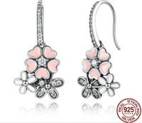 우아한 여성을위한 Hotsales 스털링 925 사쿠라 핑크 꽃 다이아몬드 설정 귀걸이 보석, 최고의 품질 로맨스 실버 교수형 귀
