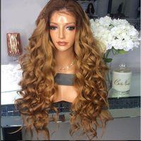 Free la parte de dos tonos # 4 27 Pelucas de cabello humano de encaje completo ondulado suelto Pelucas delanteras de encaje sin glorías Pelucas de pelo humano de Ombre