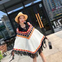 Femmes tricotées col rabattu ethnique nation géométrique impression aztèque tricoté manteau lâche manteau poncho pull pull à pompons