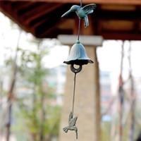 2 peças fundidas Hummingbird Iron Bird Windchime Windbell Pátio Pátio Gardon decorações de suspensão do antigo vento de Bell Chimes escuras Crafts verdes