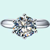 여성을위한 클래식 1CT 브랜드 소나 합성 다이아몬드 반지 약혼 925 스털링 실버 쥬얼리 18K 금도금 결혼 반지