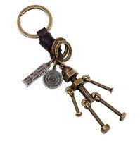 Zoshi 빈티지 남자 조정 가능한 나사 로봇 키 체인 구리 합금 정품 가죽 열쇠 고리 손으로 만든 가방 매력 홀더
