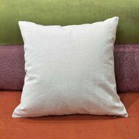 Funda de almohada de lona de algodón natural liso de 12 oz de grosor luz natural marfil en blanco funda de almohada Funda de almohada 18 * 18in con cremallera oculta