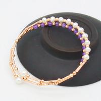 Мода пресноводный жемчуг браслет розовое золото медь браслет стенд с пресноводной белый жемчуг браслет оптом