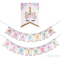 Kağıt Bayrak Yaldız Flicker Toz Unicorn Aranjman Renkli Bayrak Parti Malzemeleri Mutlu Doğum Günü Bebek Için Süslemeleri Uygun 5 7hp dd