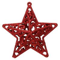زينة شجرة عيد الميلاد للمنزل الجوف الخماسية نجمة 3D زهرة ندفة الثلج الشكل بريق حلية نافيداد زينة عيد الميلاد