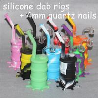 새로운 흡연 8.26inches 실리콘 오일 DAB 굴착기 14.4mm 조인트 다채로운 실리콘 장비 + 4mm 남성 석영 손톱 뱅글