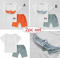 0320fb90108 INS bébé garçons 3D Crocodile Set vêtements été enfants de bande dessinée  animaux Top T Shirt