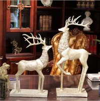 24inches SilverCopper Color A Pair of Big Deer Statue Home D...