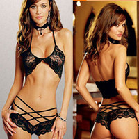 Women Sexy Lace Crochet Perspective Underwear Bra Set Nightw...