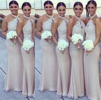 Halter Bridemaid Robes Applique Dentelle Robes De La Dentelle Robe de demoiselle d'honneur Pas cher Robe de taille Ville Robe convertible Robes de Demoiselle d'Honneur