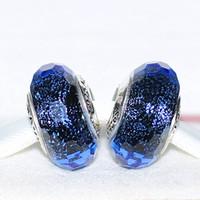 اليدوية lampwork 925 فضة قزحي الألوان الأزرق الأوجه مورانو الزجاج سحر الخرزة يناسب أساور مجوهرات باندورا الأوروبية