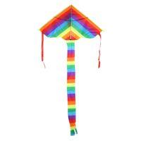 قوس قزح طائرة ورقية دون أدوات تحلق متعة الرياضة في الهواء الطلق ذيل طويل النايلون تحلق طائرة ورقية مثلث الملونة كايت الأطفال أطفال اللعب