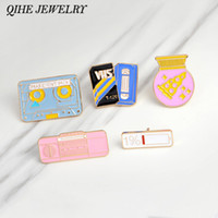 Qihe bijoux broches broches rose radio 1% batterie pizza ball gomme magnétique bande dessinée badge broches jeunes filles