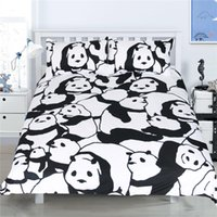 Panda Animal Bedding Set Black White Duvet Cover Set 3PCS Tw...