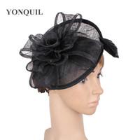 vintage noir sinamay base fascinator chapellerie mariage accessoires de mariée avec plume chapellerie cocktail chapeau top qualité MYQ028