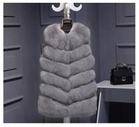 جودة عالية الفراء سترة معطف الفاخرة فو الثعلب الدافئة النساء معطف سترات الشتاء أزياء الفراء المرأة معاطف سترات جيليه فيستي زائد الحجم 3xl