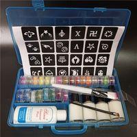 24 Farben Pulver Glitter Pulver 4 Kleber 2 Pinsel 1 Papier Hohl Vorlage Kit für Temporäre Tätowierung und Kinder Gesicht Körper Malerei