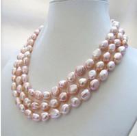 Envío gratis 3 hilos genuino collar de perlas de agua dulce barroco rosa natural 8-9 mm