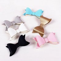 Hot New Magazine Design PU Soft Leather Big Bow Haipins Clips laterales Barrettes Niños Niños Niñas Accesorios para el cabello