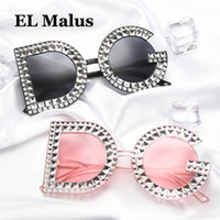 [EL Malus]Retro DG Sunglasses Simulated Diamond Women Female...