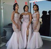 Gelinlik Modelleri 2020 Gümüş Arapça Karışık Sipariş Boncuklu Sequins Şifon Seksi Mütevazı Junior Hizmetçi Onur Elbise Düğün Parti Elbise