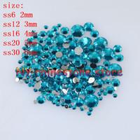 1000-10000PCS / sac 2-6mm de paon bleu résine cristal strass strass plateforme super scintillante décoration de mariage applique non hotfix 14