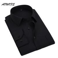 Gros-AOWOFS Social Shirt Noir Hommes Chemises À Manches Longues À Manches De Travail Chemises Grand Taille Hommes Vêtements 8XL 5XL 7XL 6XL Personnalisé De Mariage