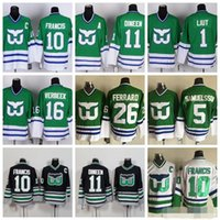 be790841e Hartford Whalers Jersey Men 1 Mike Liut 10 Ron Francis 11 Kevin Dineen 16  Patrick Verbeek Ice Hockey Jerseys Vintage Green White