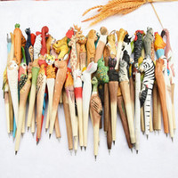 حيوان لطيف نحت خشبي الخلاق جل القلم الخشب نحت الخشب اليدوية جل نحت القلم للشحن طالب الحرة