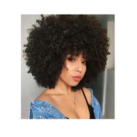 Femmes doux afro Kinky perruque bouclée perruque africaine Amere-Brésilienne Simulation Hair Cheveux Humains Court Curly Full Wig pour Dame