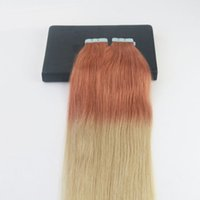 """Cinta en las extensiones de cabello 14-24 """"Ombre Red Fading to Blond # 613 Brasileño Reny Hair Set completo Extensiones de cabello de trama de piel 40 piezas 100G / paquete"""
