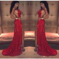 Сексуальные красные блестки выпускного платья длинные 2018 русалка бедра высокие разрезы бретельки спинки африканские черные девушки знаменитости вечерние платья