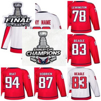 2018 Stanley Cup Final Champions Washington Capitals 78 Tyler Lewington 83 Jay Beagle 87 Liam O'Brien 94 Damien Riat Red White Hockey Jersey