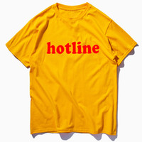Men Women Hotline Letters Printed Casual Solid Color Tees Male Female Summer Crew Neck Tshirts Free Shipping