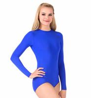 LZCMsoft Kadın çekin Kasık Uzun Kollu Leotard Kızlar Jimnastik unitard Likra Spandex Balerin Suits için Bale Dans mayoları