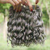 Sliver Grey onda profunda extensões do cabelo humano 3Pcs / Lot profunda cabelo encaracolado ondulado Pacotes Grey brasileiros virgem tecem cabelo