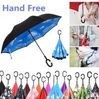 Einzigartiger Outdoor-Sonnenschirm-Regenschirm umgekehrt kreativer Freisprecheinrichtung-up-Regenschirm-Sonnenschirm-Sonnenschirme winddichte Rückwärts-Falten-Doppelschicht-C-Haken-Regenschirme