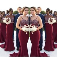 African Burgundy Long Bridesmaid Dresses 2018 Lace Appliques...