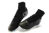 Original Noir CR7 Chaussures De Foot Mercurial Superfly FG Soccer Crampons Haute Chaussure De Football Bottine Ronaldo Top Qualité Sports Sneakers