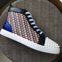 New 2018 men women white spikes toe blue leather patchwork h...