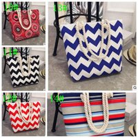 Free desig Casual Summer Canvas Shopper Shoulder Bag Striped...