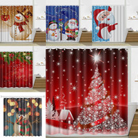 180*180cm Christmas Shower Curtain Santa Claus Snowman Water...