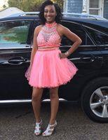 2018 Cristal / Beading Dos Piezas Vestidos de Homecoming Tulle Tulle Tul Tulle Tulle Vestidos de Prom Playa Gris Mini Partido de Graduación Vestido
