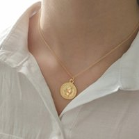 925 Sterling Silver Coin Necklace For Women Fashion Figure L...