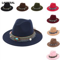 Wholesale red hat ladies online - LASPERAL Women s Bohemia Jazz Caps Hats  With Wide Brim 8e837bb8b79