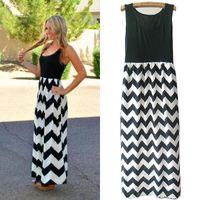 Nuevas mujeres Summer Beach Boho Maxi Dress Marca de alta calidad con estampado de rayas Vestidos largos Femenino Plus Size Wholesale