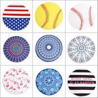 Round Beach Towel Blanket Geometric Donuts Printed Microfiber Shower Towels Circle Bohemia Bath Towels Lady Shawl Mat